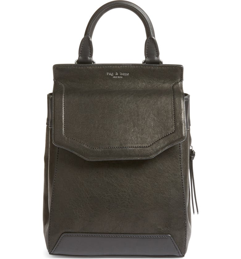 RAG & BONE Small Pilot II Leather Backpack, Main, color, 001