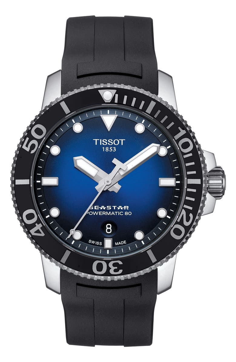 TISSOT T-Sport Automatic Synthetic Strap Watch, 43mm, Main, color, BLACK/ BLUE/ SILVER