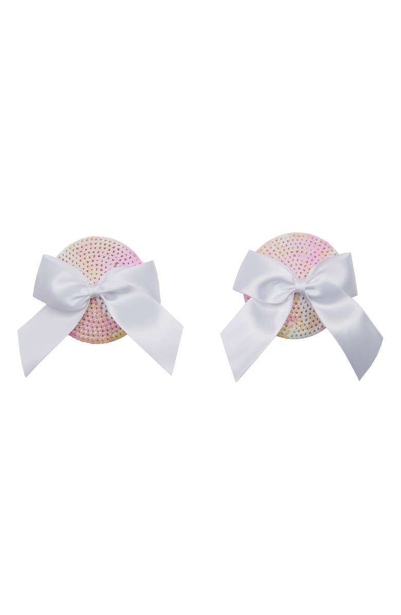 BRISTOLS 6 Nippies Gold Bow Sequin Nipple Covers, Main, color, WHITE