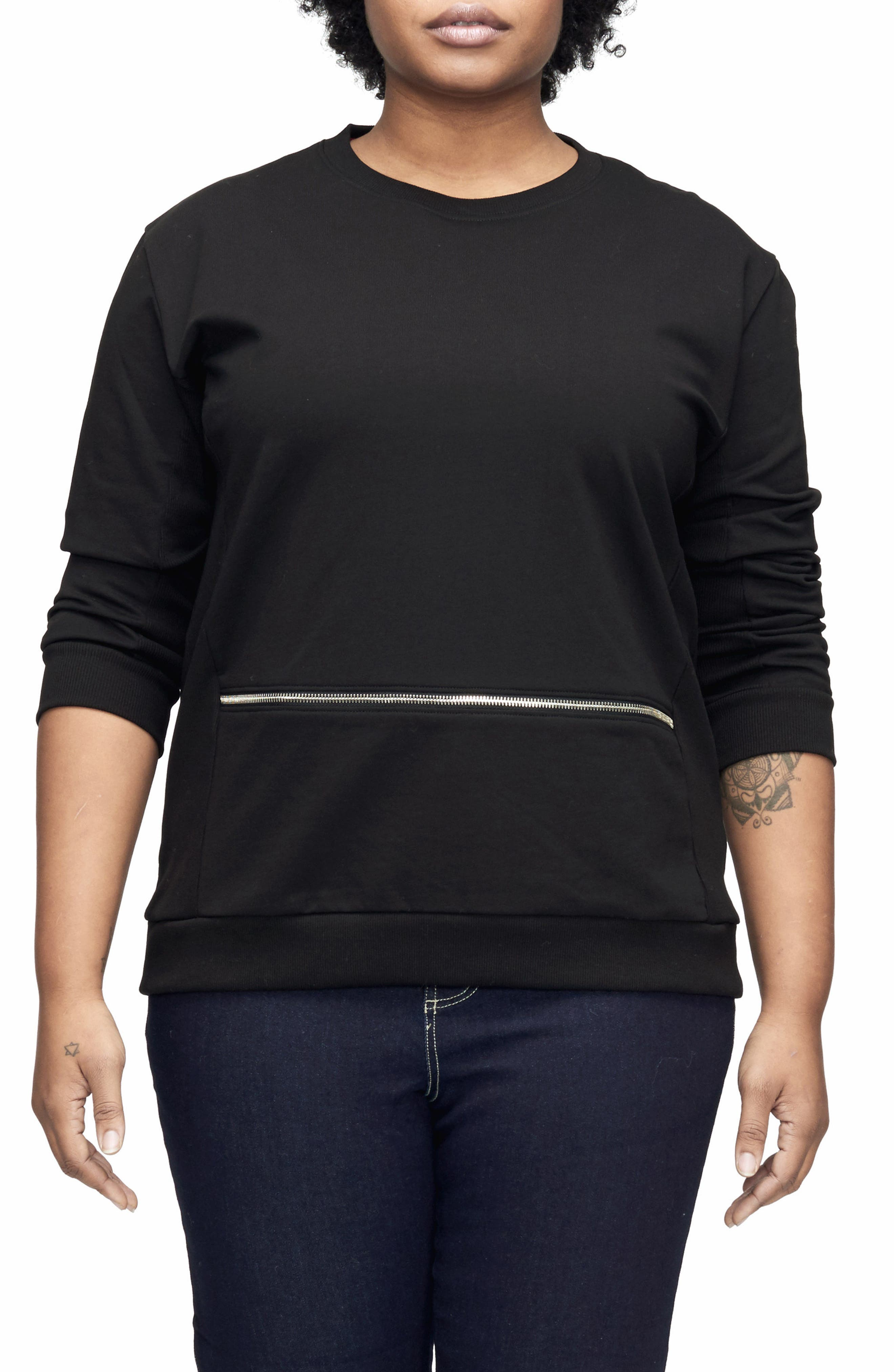Plus Size Universal Standard Equator Zip Trim Sweatshirt, Black