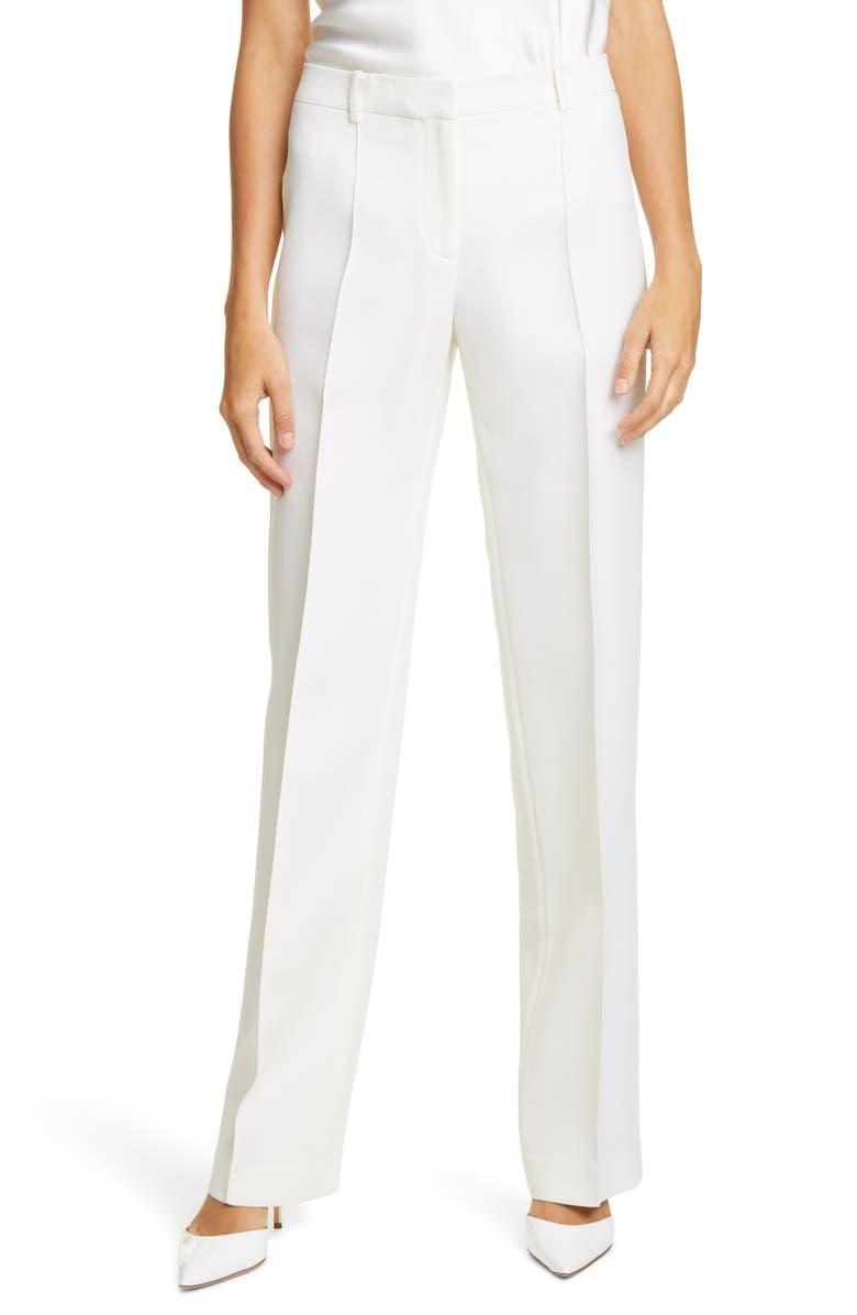 LAFAYETTE 148 NEW YORK Winthrop Wool & Silk Wide Leg Pants, Main, color, 100