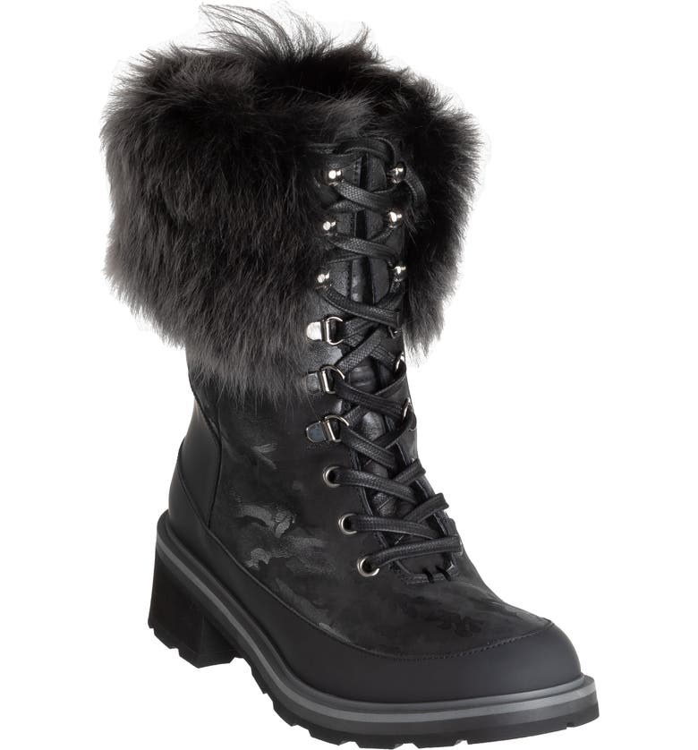 ROSS & SNOW Chiara Genuine Shearling Cuff Leather Boot, Main, color, 001