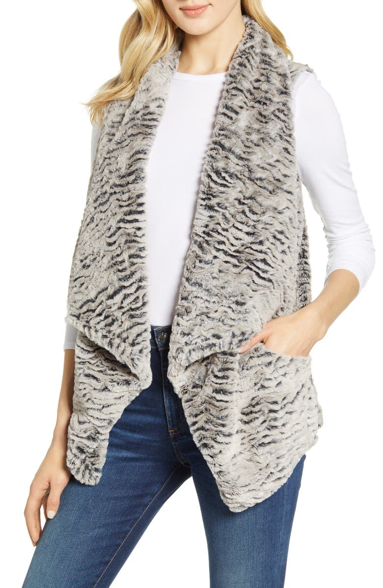 WIT & WISDOM Drape Faux Fur Vest, Main, color, CHARCOAL/ TAUPE