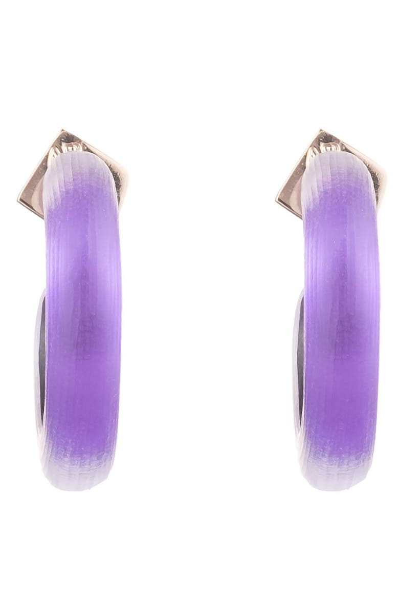 ALEXIS BITTAR Small Thin Hoop Earrings, Main, color, VIOLET