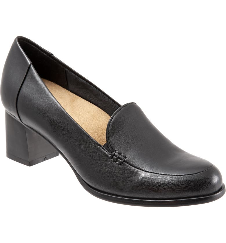 TROTTERS Quincy Loafer Pump, Main, color, BLACK/ BLACK LEATHER