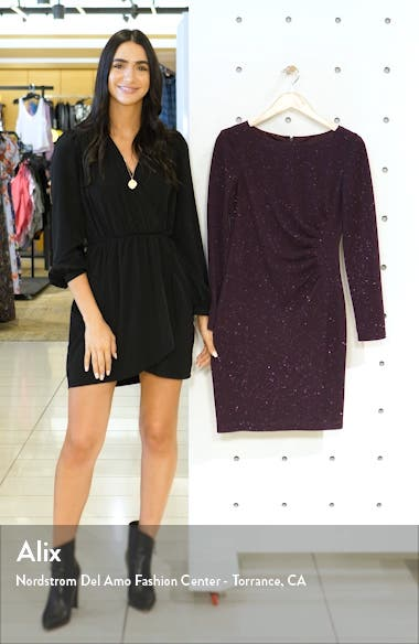 Long Sleeve Glitter Ruched Sheath Dress, sales video thumbnail