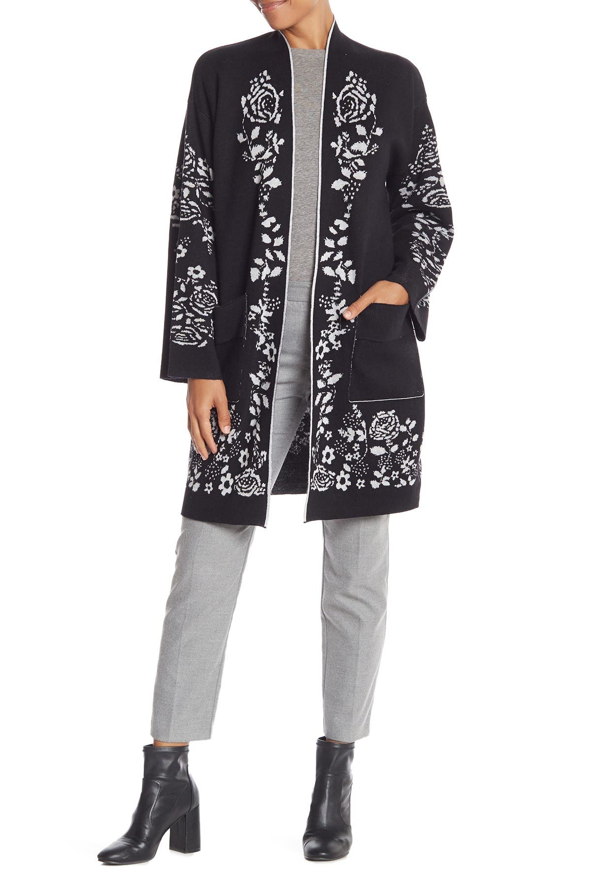 Image of Vertigo Floral Open Front Cardigan Sweater Coat