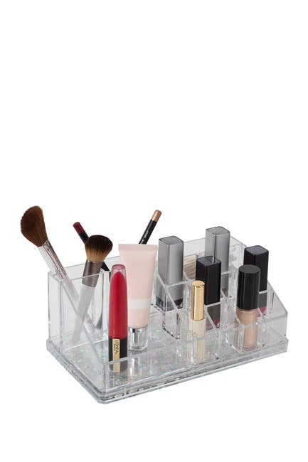 Image of Kennedy International Inc. Simplify Silver 16 Compartment Floating Glitter Bottom Cosmetic Organizer