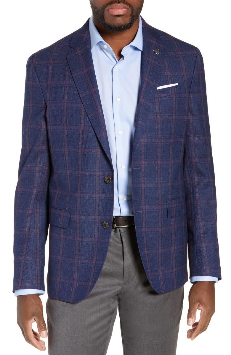 TED BAKER LONDON Konan Trim Fit Windowpane Wool Sport Coat, Main, color, 410