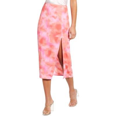 Leith Midi Skirt With Slit, Coral