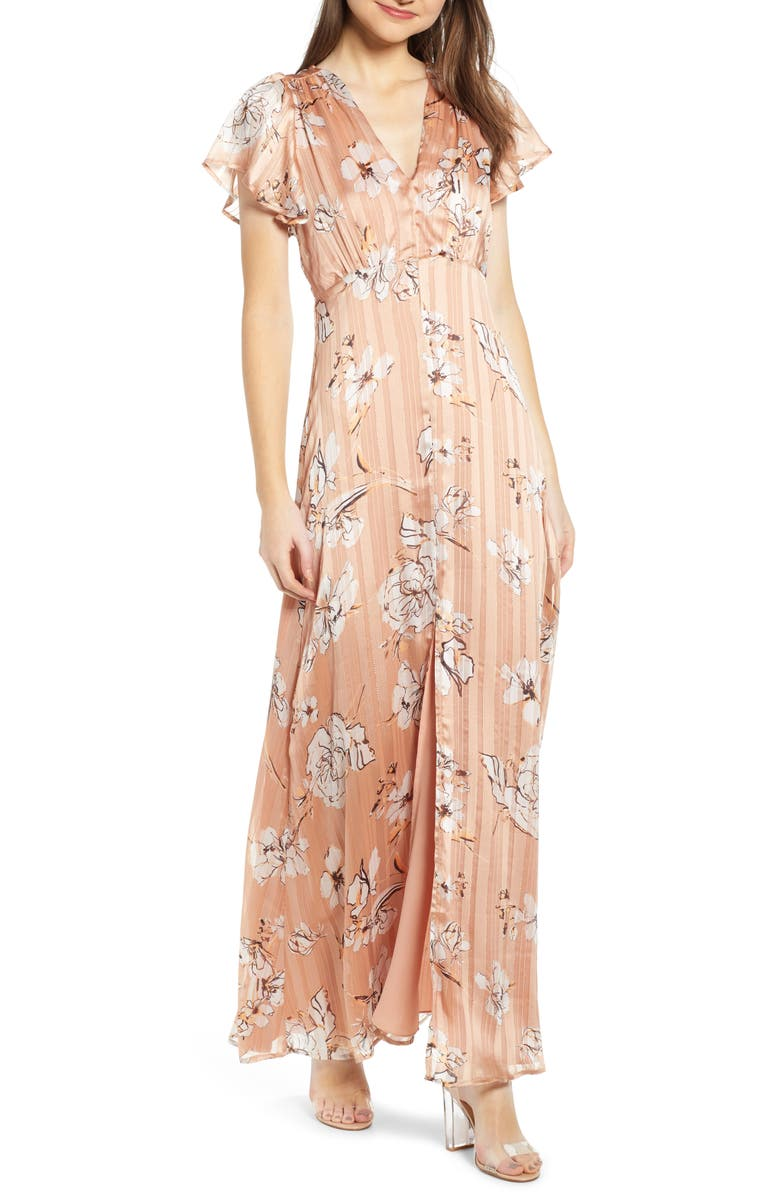 4SI3NNA Floral Satin Maxi Dress, Main, color, MAUVE FLORAL