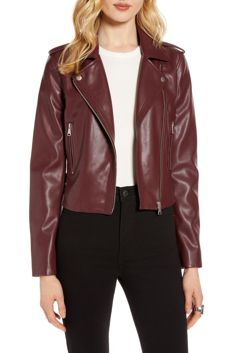 HALOGEN<SUP>®</SUP> Faux Leather Moto Jacket, Main, color, BURGUNDY STEM