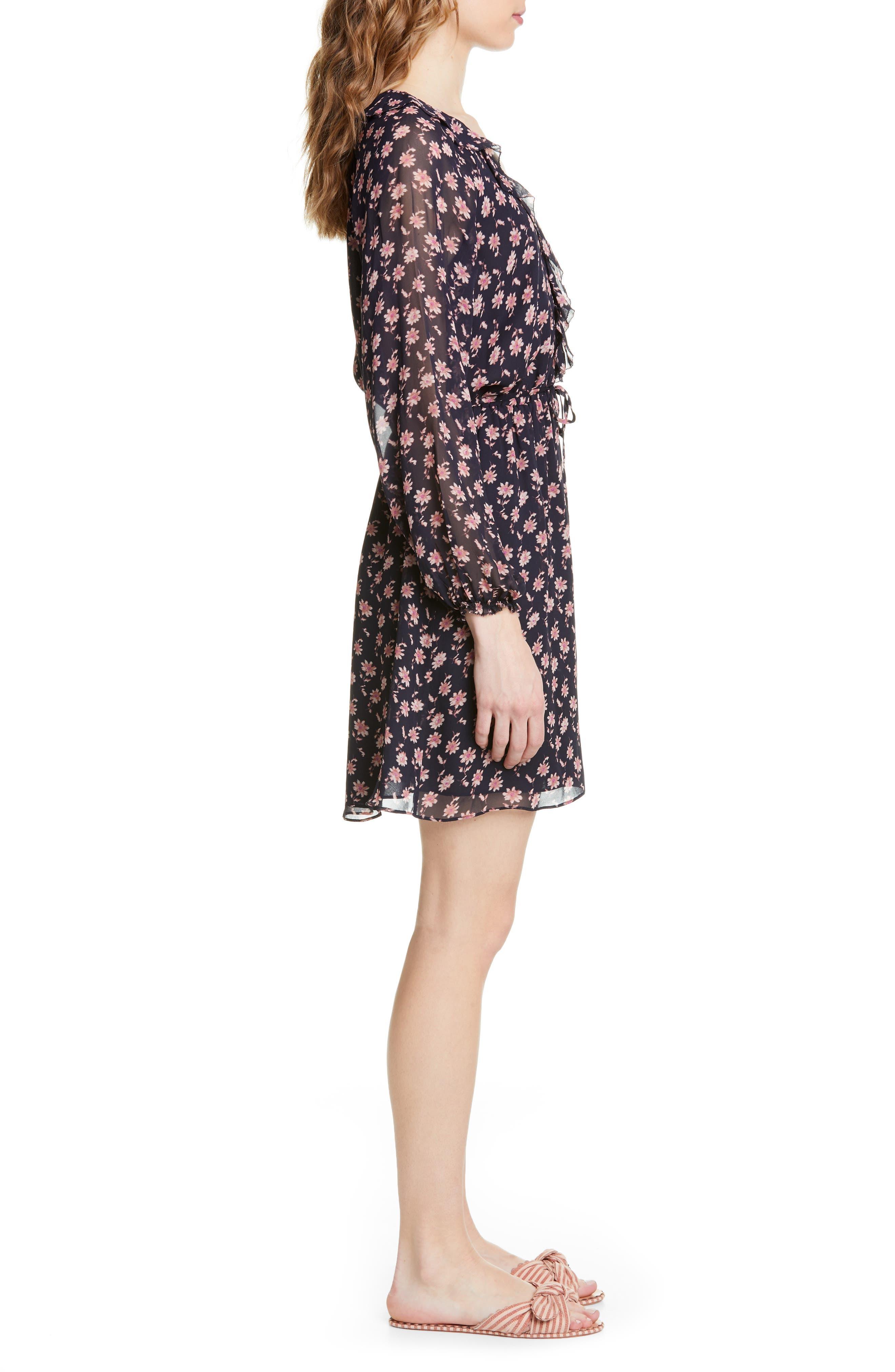 ,                             Marelle Ruffle Neck Long Sleeve Silk Dress,                             Alternate thumbnail 4, color,                             MIDNIGHT