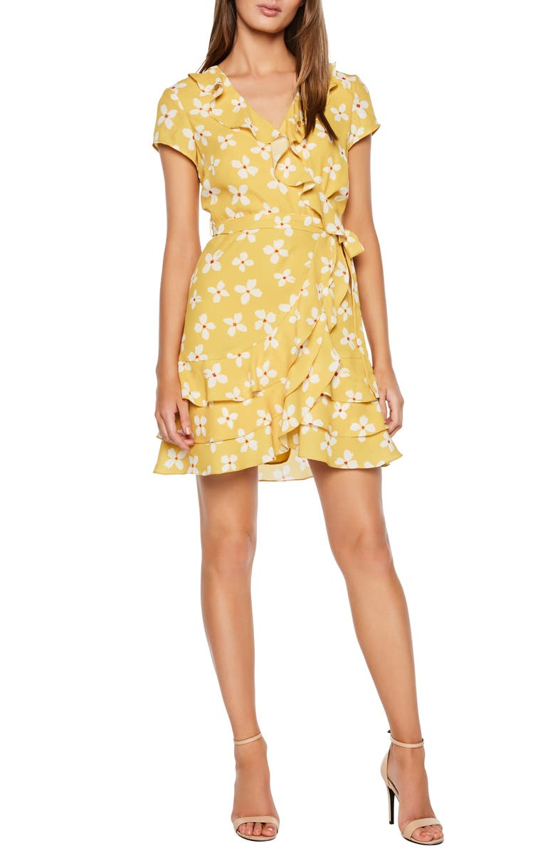 BARDOT Abstract Daisy Faux Wrap Dress, Main, color, MUSTARD DAISY