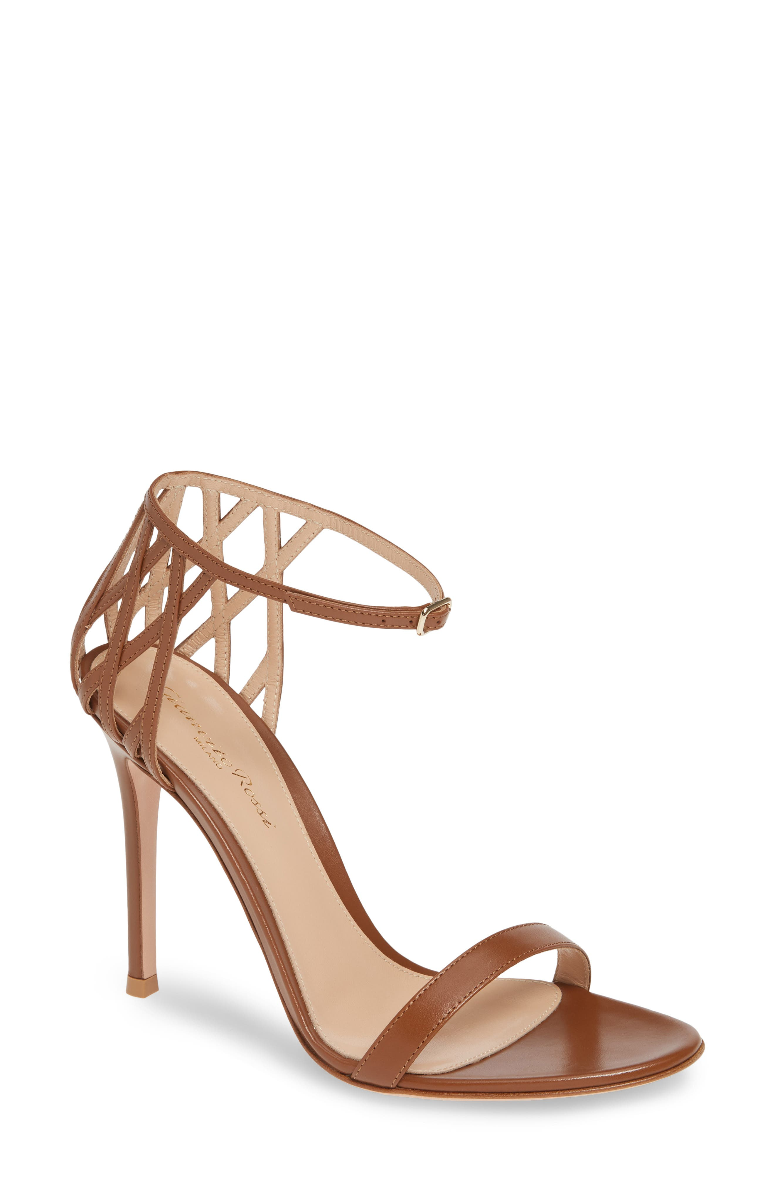Gianvito Rossi Weave Ankle Strap Sandal, Brown