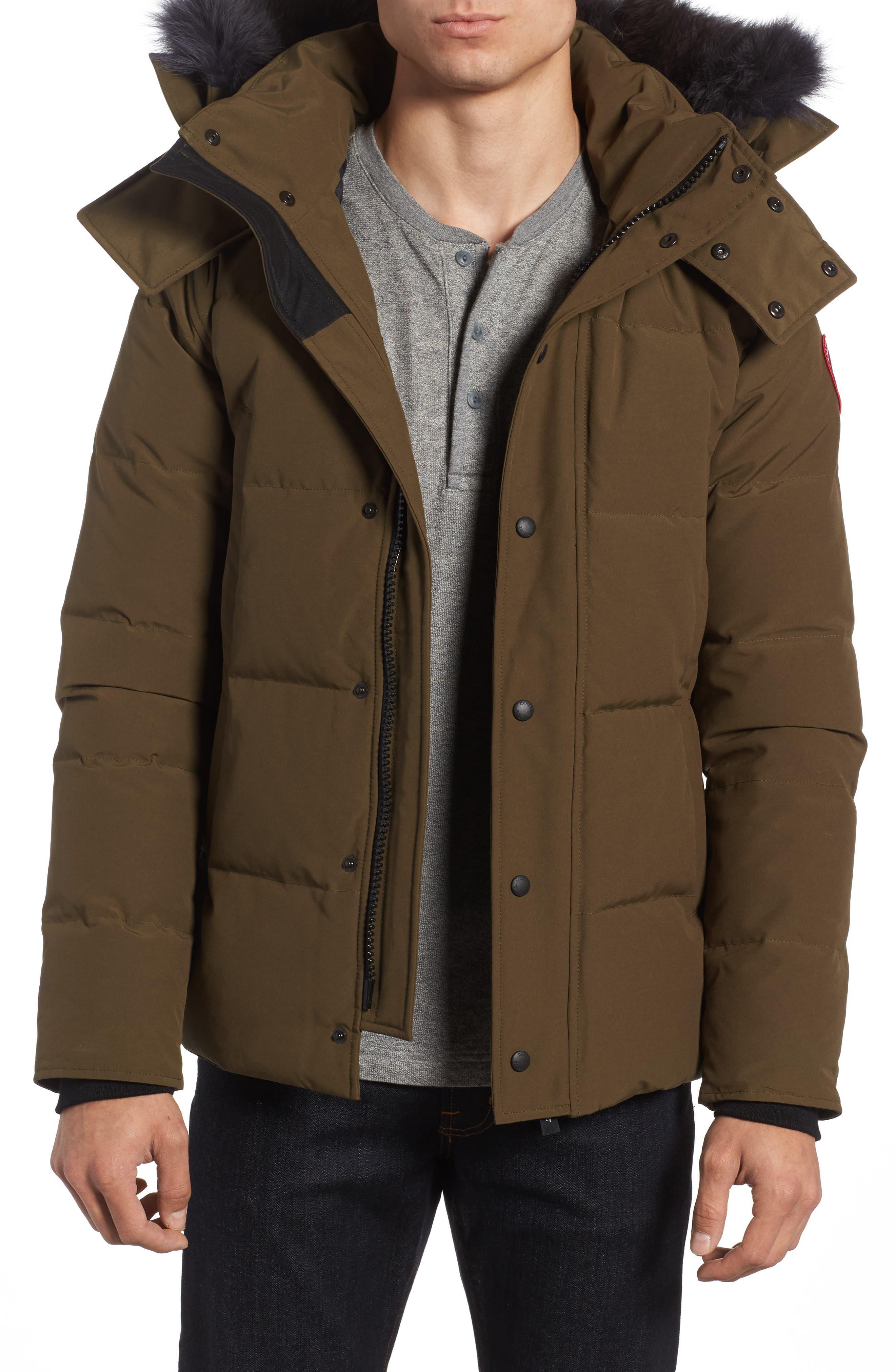 Canada Goose Wyndham Slim Fit Genuine Coyote Fur Trim Down Jacket, Green