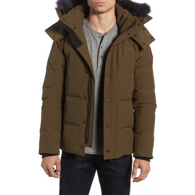 Canada Goose Wyndham Slim Fit Genuine Coyote Fur Trim Down Jacket, Green