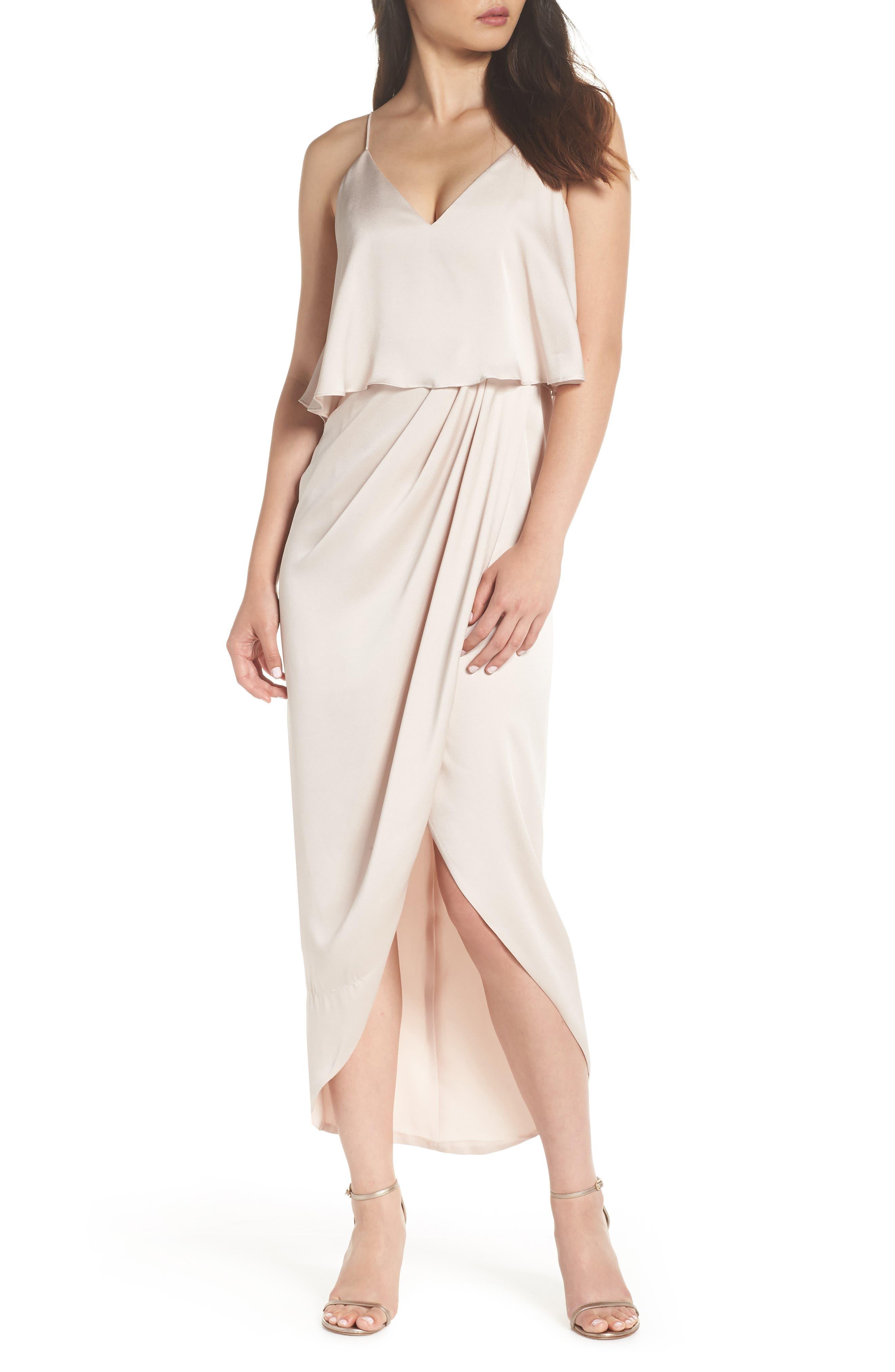 Shona Joy Luxe Frill Tulip Hem Maxi Dress, Beige