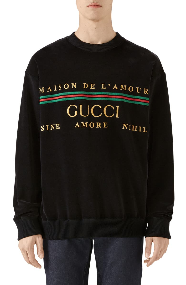 GUCCI Embroidered Chenille Crewneck Sweatshirt, Main, color, BLACK/MULTICOLOR