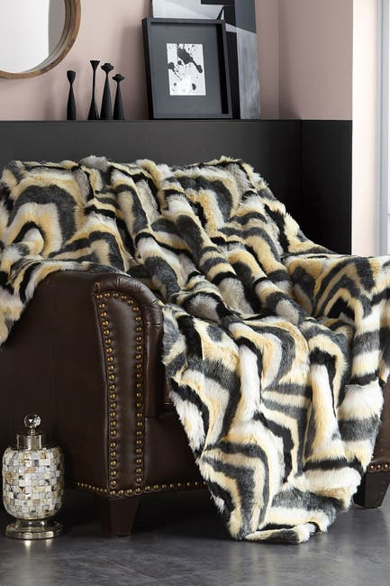 "Image of Chic Home Bedding Janina Striped Chevron Shaggy Faux Fur Blanket - 50"" x 60"" - Black"