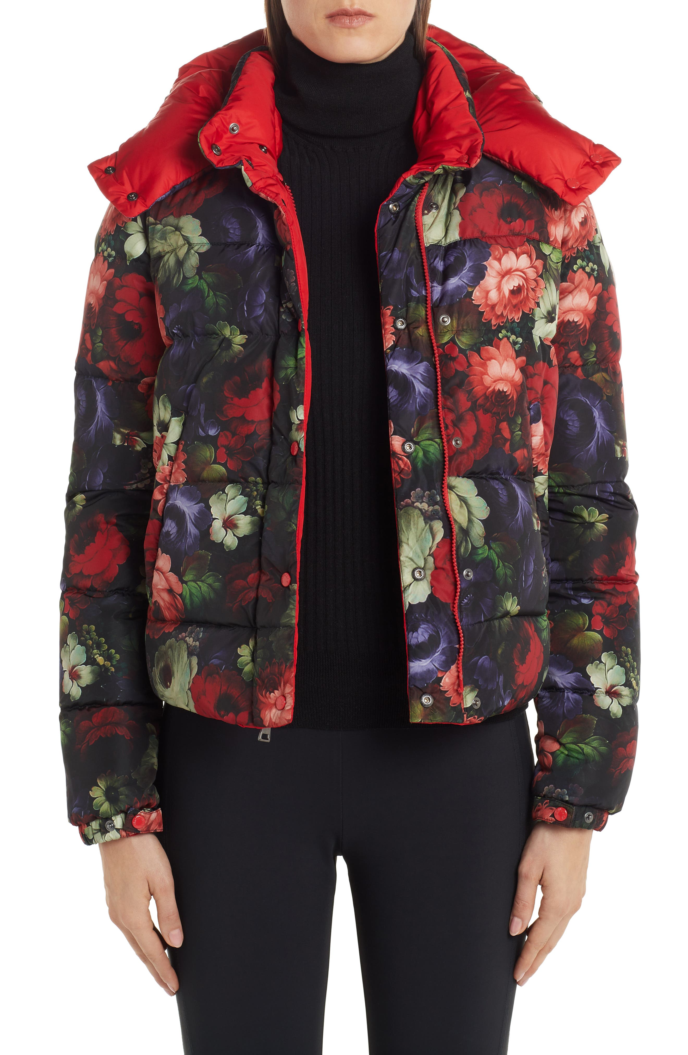 Moncler Koura Reversible Floral Print Down Jacket, Red