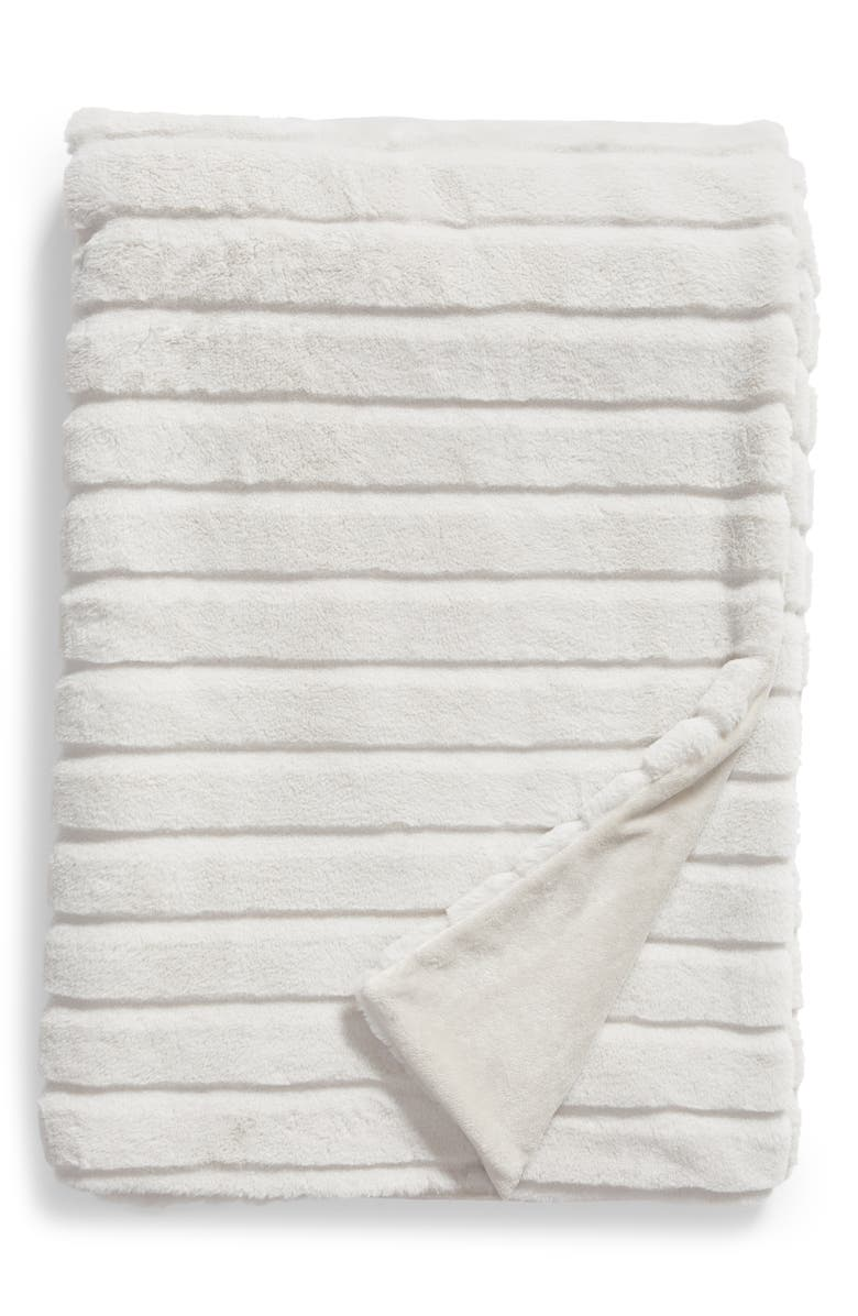 NORDSTROM AT HOME Sheared Stripe Faux Fur Throw, Main, color, GREY LUNAR