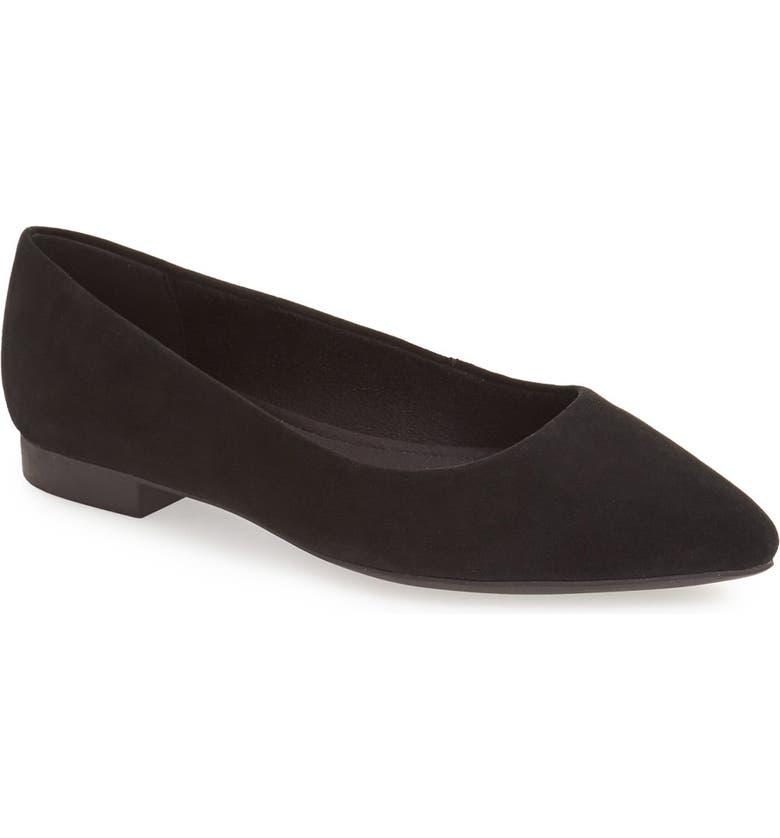 BELLA VITA Vivien Pointed Toe Flat, Main, color, BLACK SUEDE