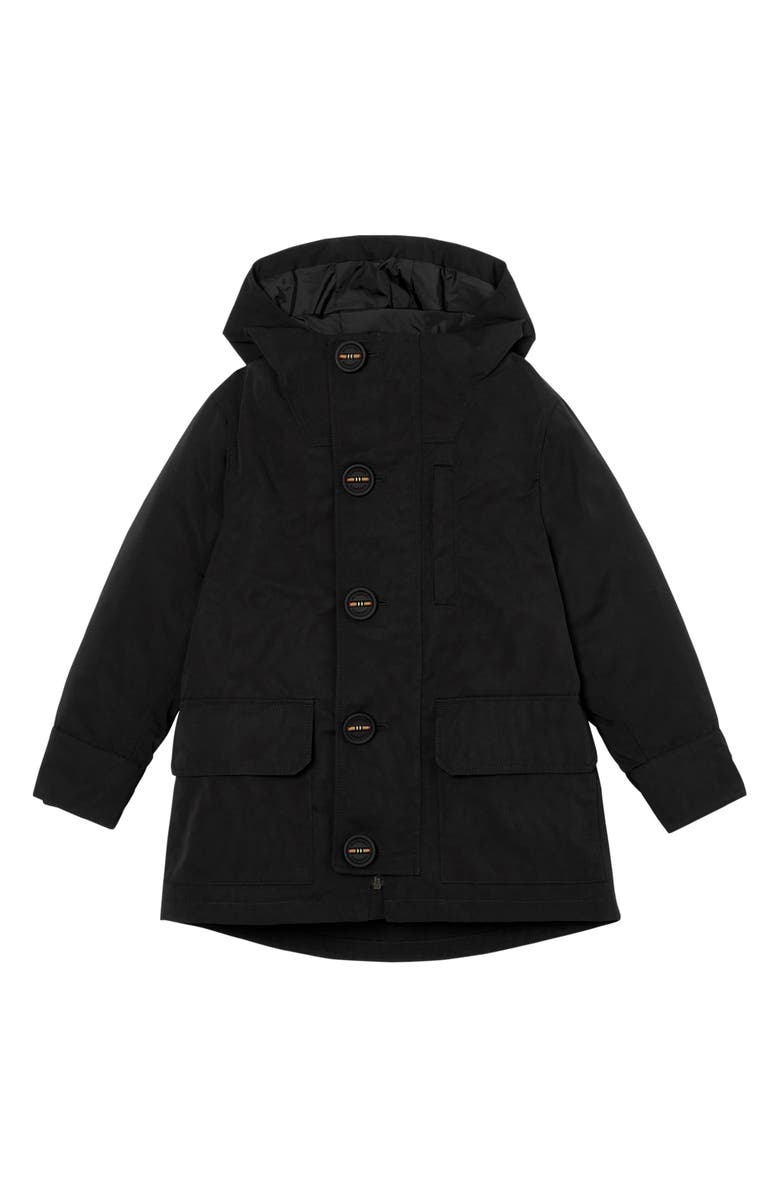 BURBERRY Rowan Hooded Coat with Detachable Icon Stripe Down Puffer Liner, Main, color, BLACK