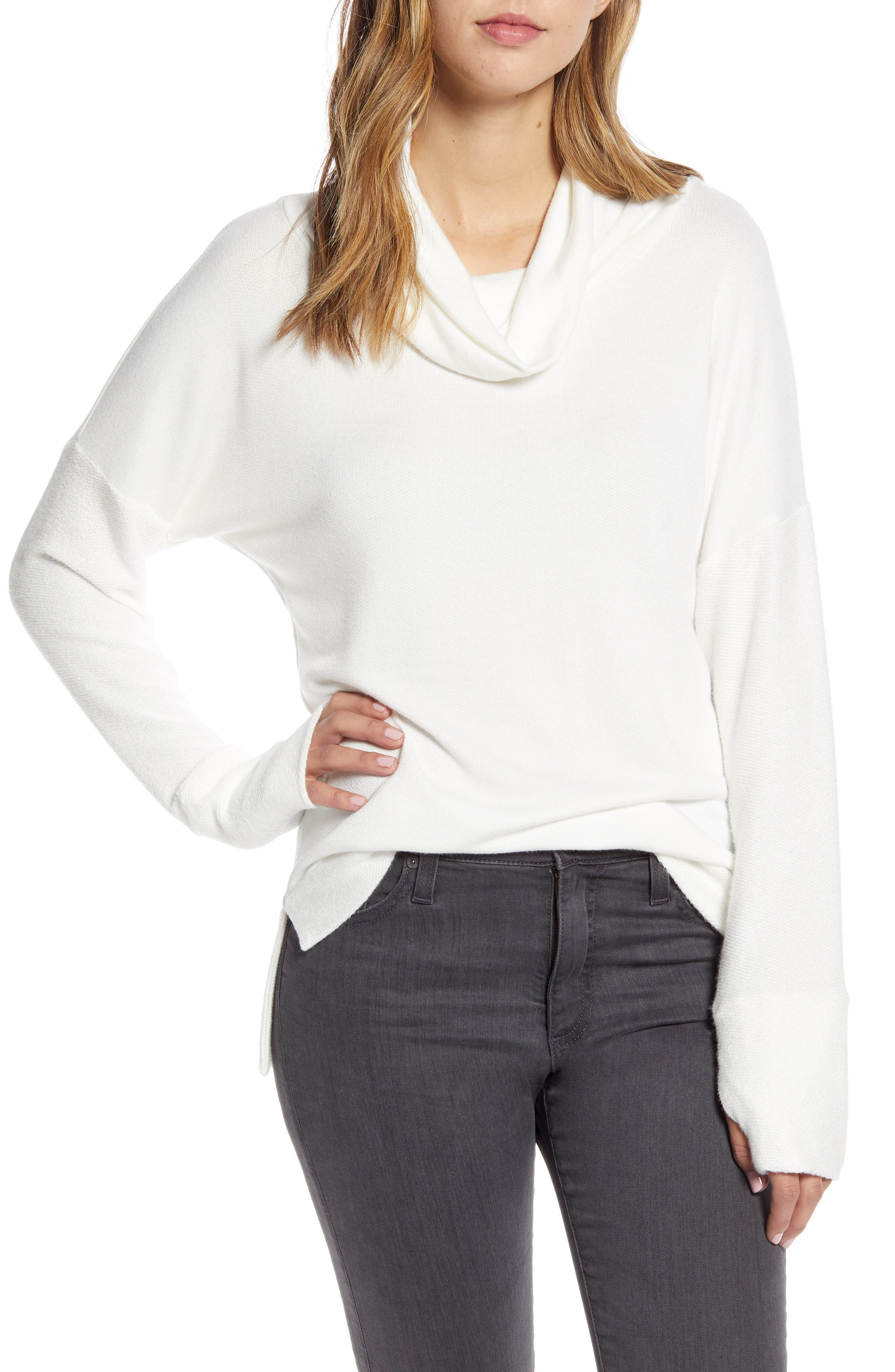 This soft off-duty sweater is designed with a slouchy cowl neck and contrasting thumbhole-cuff sleeves. Style Name: Loveappella Cowl French Terry Pullover. Style Number: 5942364. Available in stores.