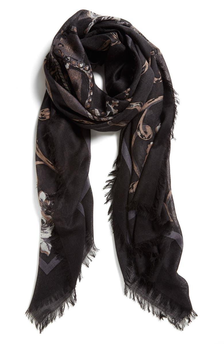 NORDSTROM 'Regal' Cashmere & Silk Scarf, Main, color, 001