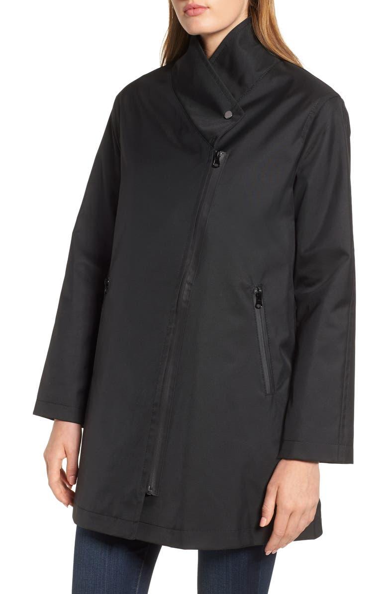 TRINA TURK Tenley Asymmetrical Collar Coat, Main, color, 001