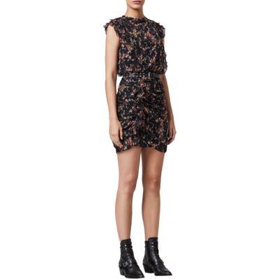 Allsaints Hali Skit Floral Ruffle Minidress, Black