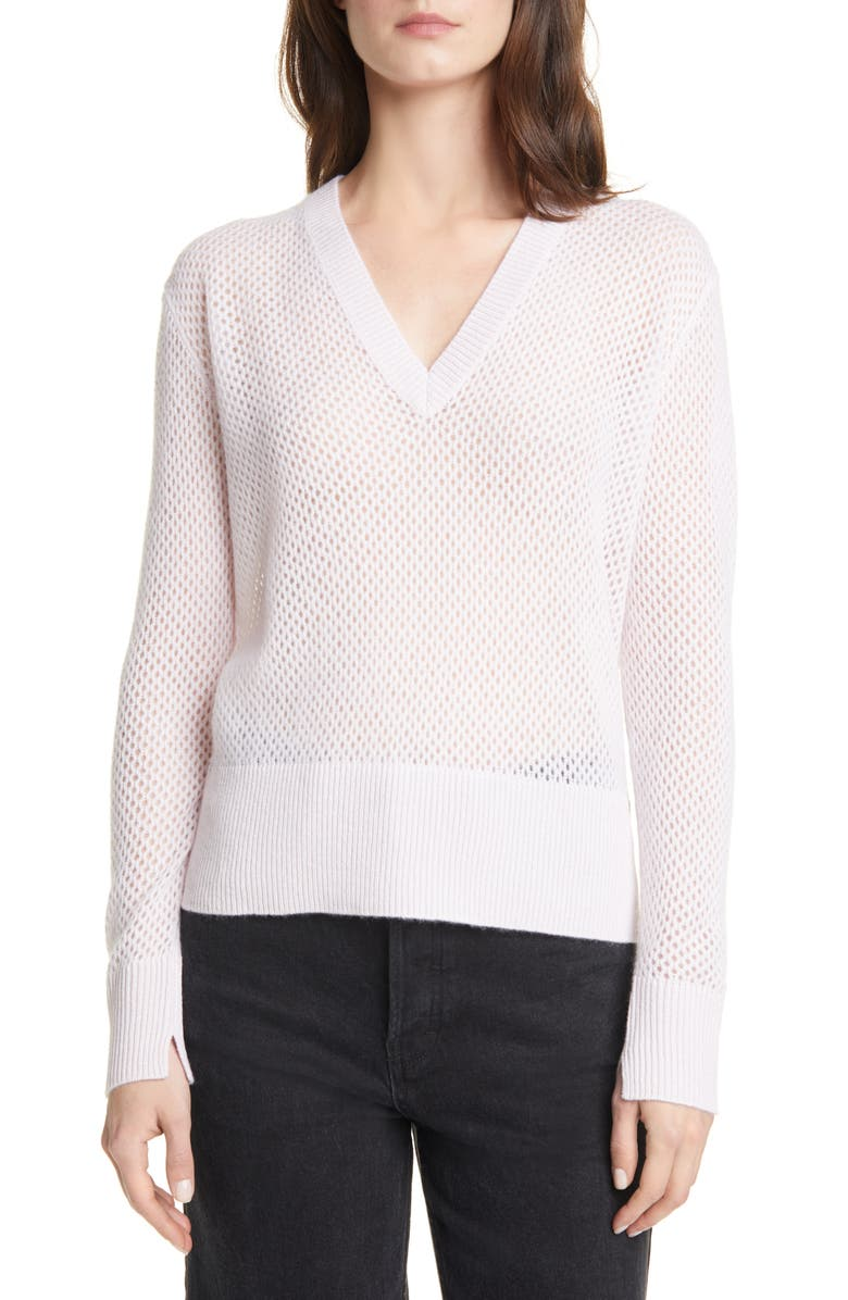 ALLUDE Pointelle V-Neck Cashmere Sweater, Main, color, PALE BLUSH