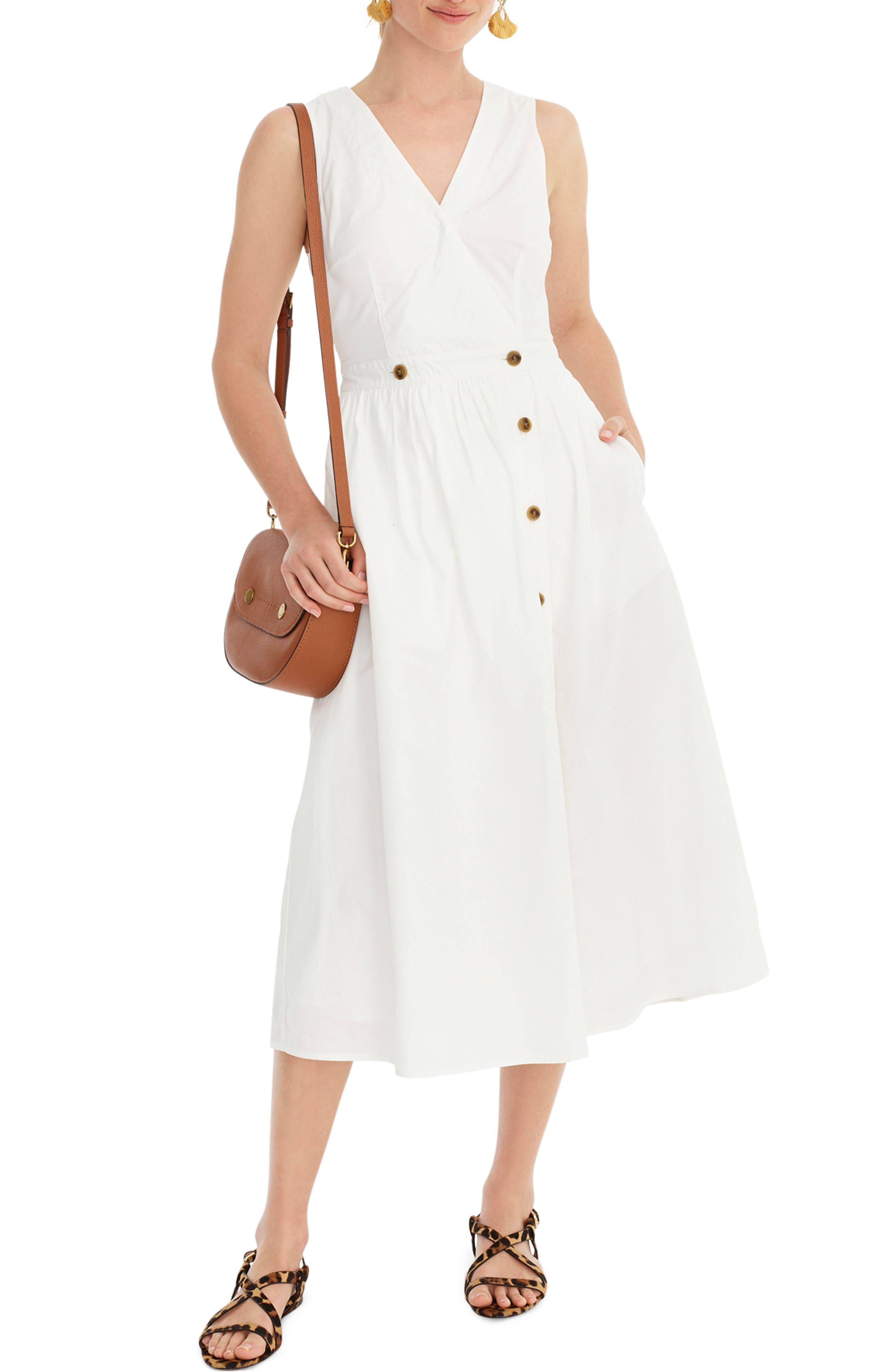 J.crew Sleeveless Cotton Poplin A-Line Shirtdress, White