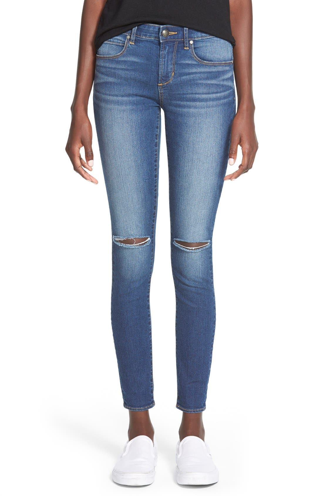 'Sarah' Distressed Skinny Jeans, Main, color, 400