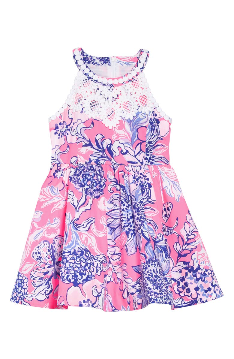 LILLY PULITZER<SUP>®</SUP> Little Kinley Dress, Main, color, PINK TROPICS SUN DRENCHED