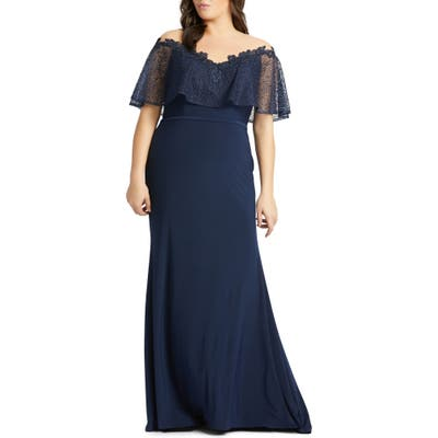 Plus Size MAC Duggal Lace Capelet Jersey Gown, Blue