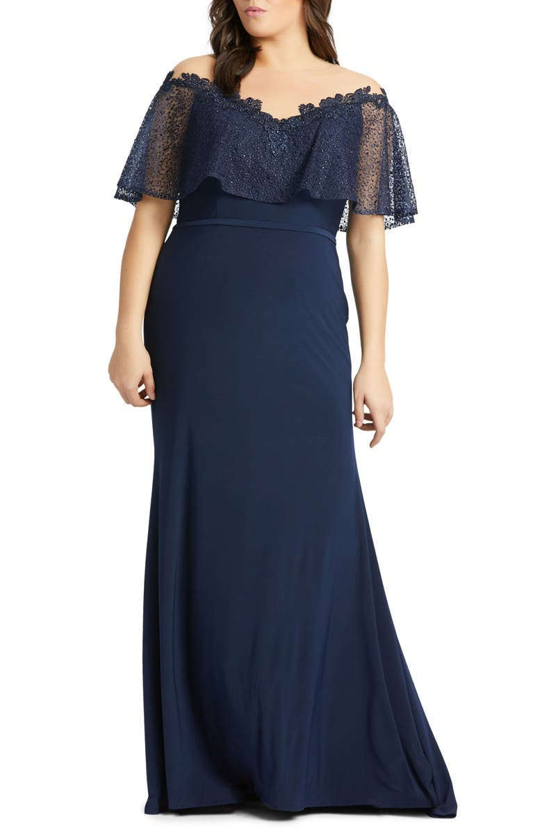 MAC DUGGAL Lace Capelet Jersey Gown, Main, color, DEEP NAVY