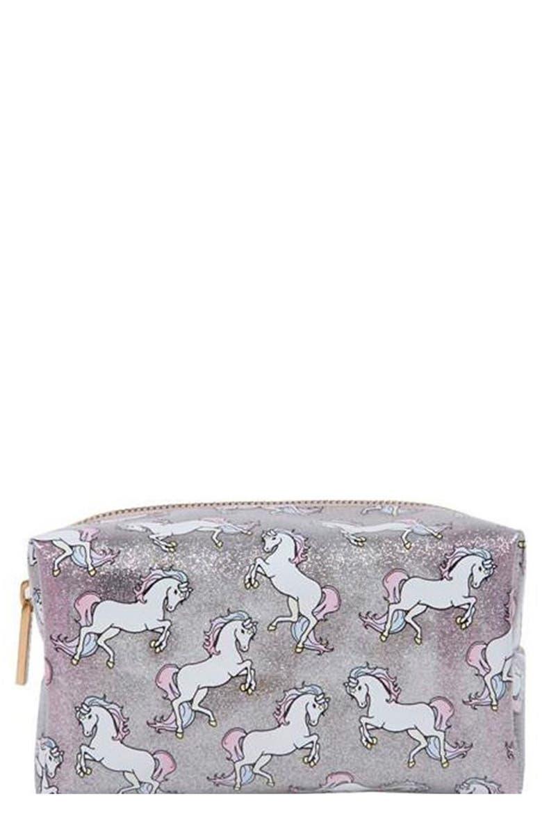 SKINNYDIP Skinny Dip Glitter Pony Makeup Bag, Main, color, NO COLOR