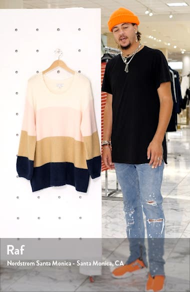 Oversize Colorblock Crewneck Sweater, sales video thumbnail