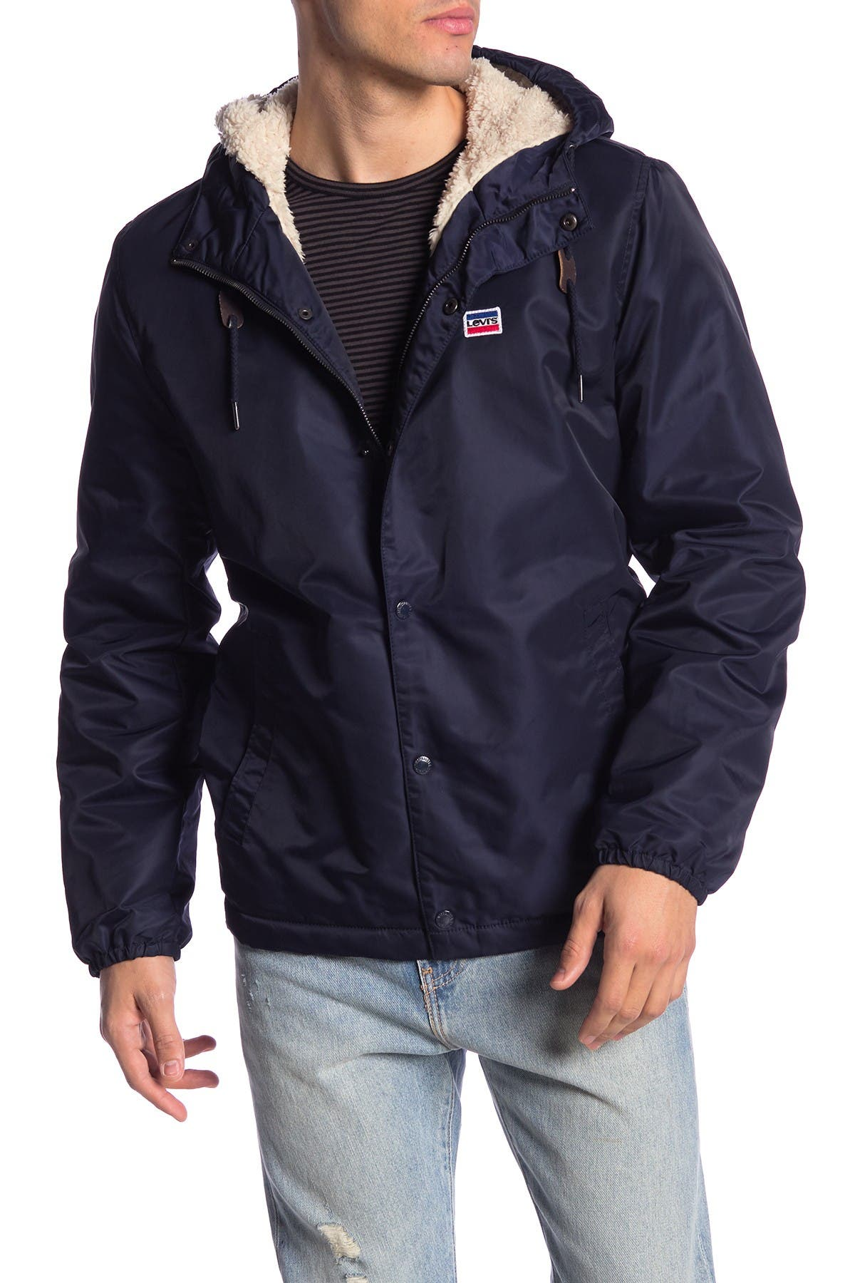 Image of Levi's Faux Fur Lined Water Resistant Hooded Jacket
