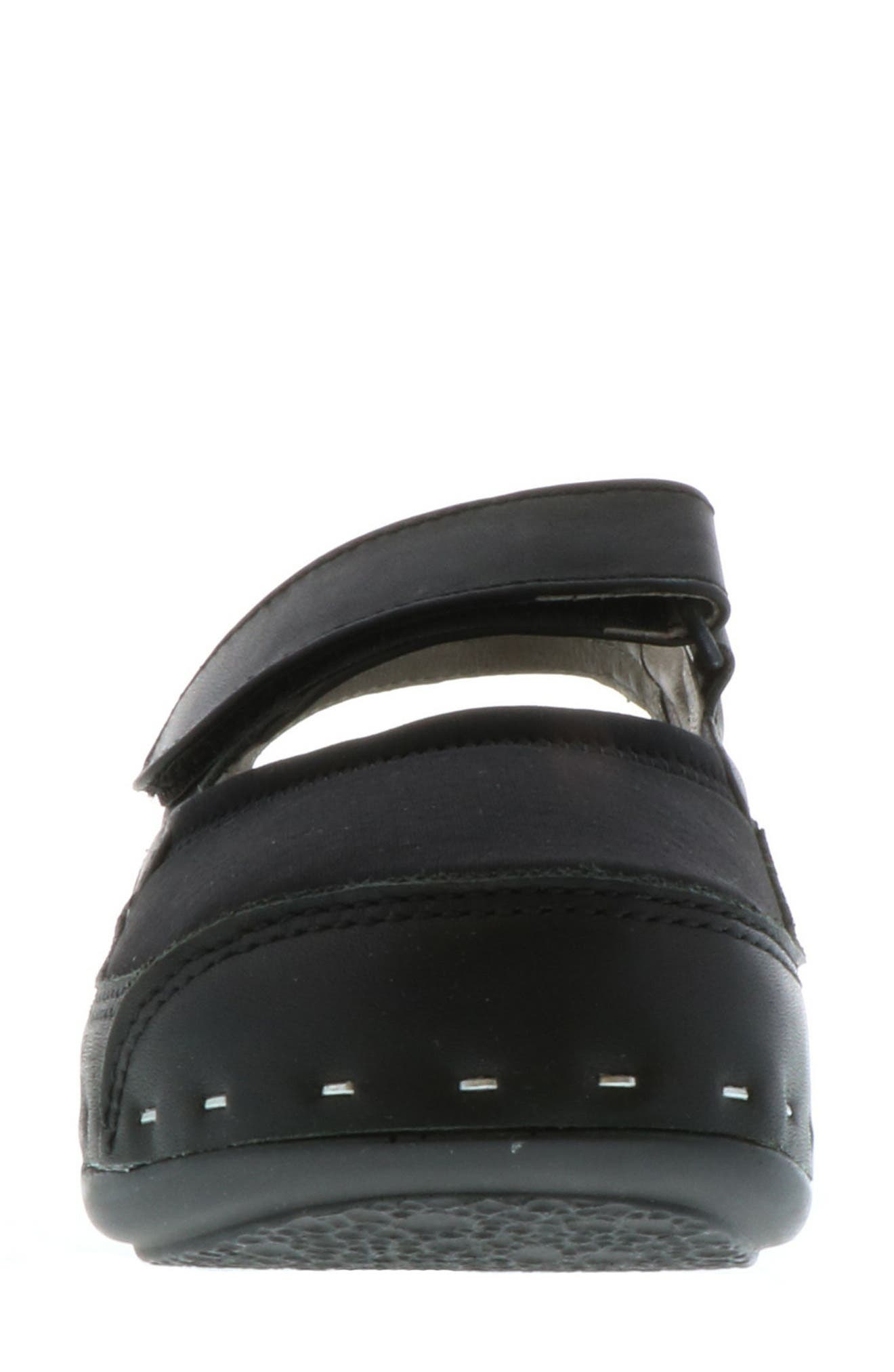 ,                             Ankle Strap Clog,                             Alternate thumbnail 4, color,                             BLACK LEATHER