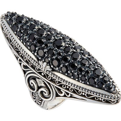 Konstantino Circle Black Spinel Ring