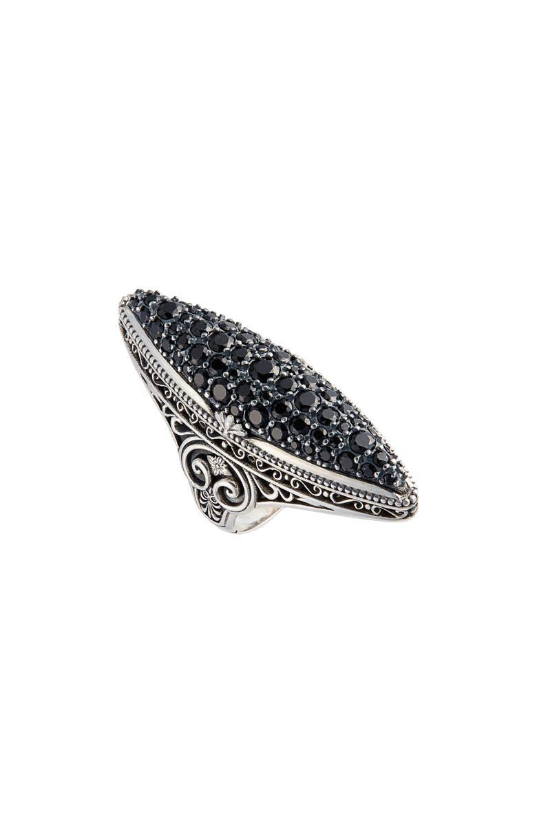 KONSTANTINO Circle Black Spinel Ring, Main, color, SILVER