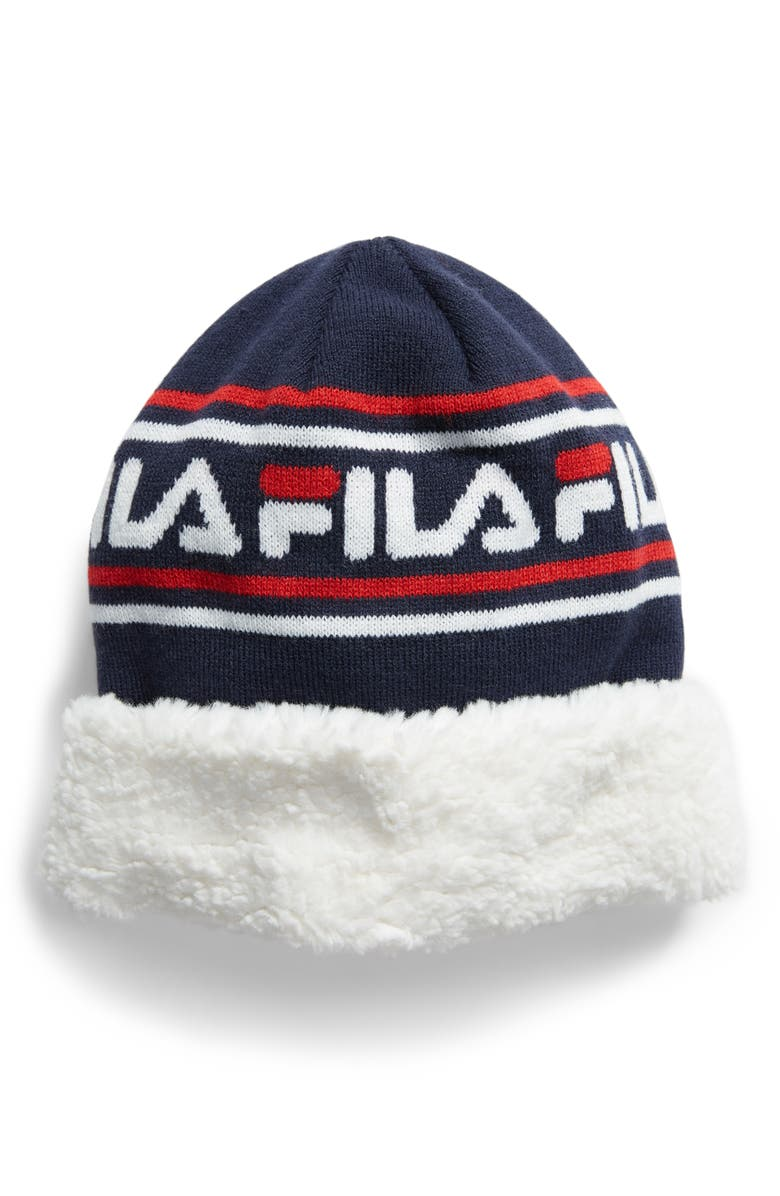 THE HERITAGE COLLECTION FILA Faux Shearling Trim Beanie, Main, color, PEACOAT