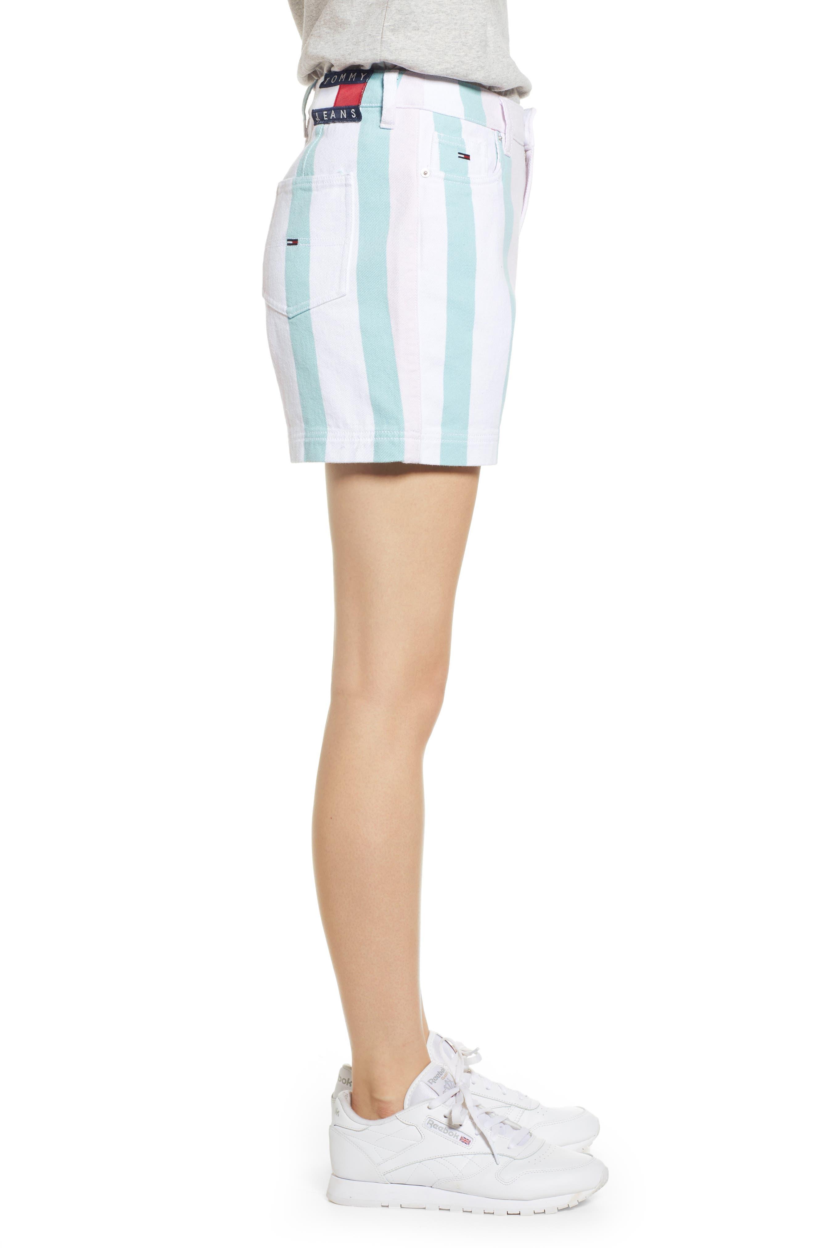 ,                             High Waist Stripe Denim Mom Shorts,                             Alternate thumbnail 4, color,                             BOLD PASTEL STRIPE