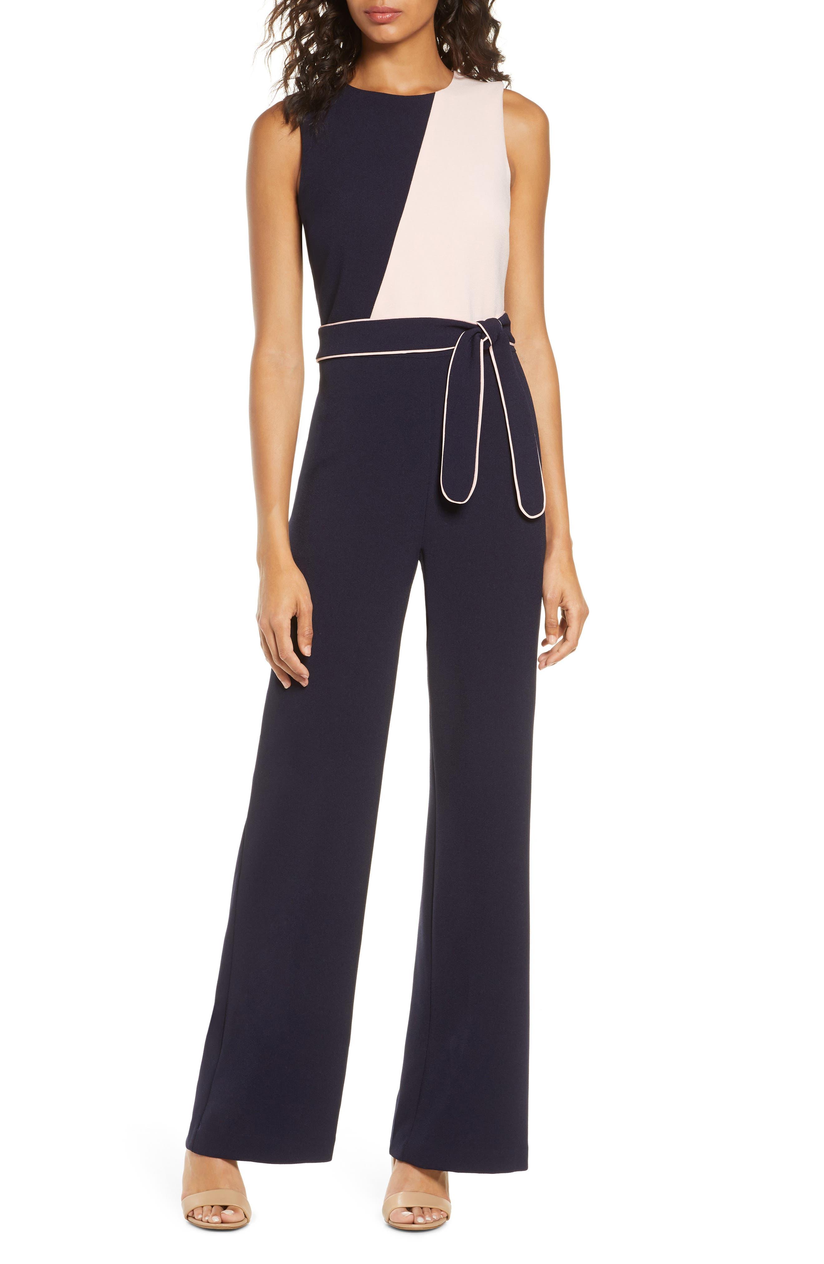 60s – 70s Pants, Jeans, Hippie, Bell Bottoms, Jumpsuits Womens Vince Camuto Colorblock Jumpsuit Size 8 - Blue $88.80 AT vintagedancer.com