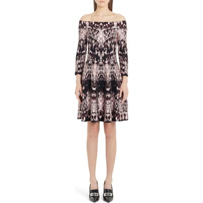 Alexander Mcqueen Crystal Jacquard Off The Shoulder Silk Blend Dress, Pink