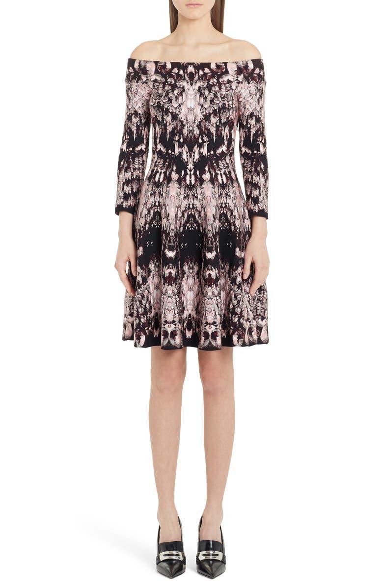 ALEXANDER MCQUEEN Crystal Jacquard Off the Shoulder Silk Blend Dress, Main, color, 699