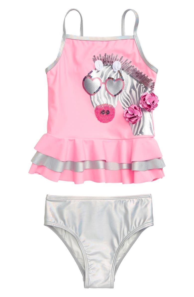 FLAPDOODLES Zebra Appliqué Two-Piece Swimsuit, Main, color, PINK